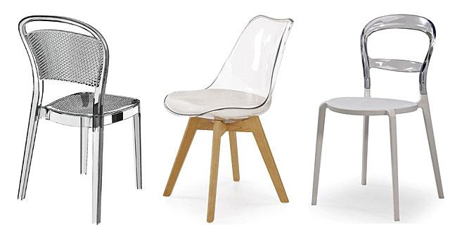 Przezroczyste krzesła od lewej: krzesło Theo - transparentne, przezroczyste krzesło Edwin, przezroczyste krzesło George