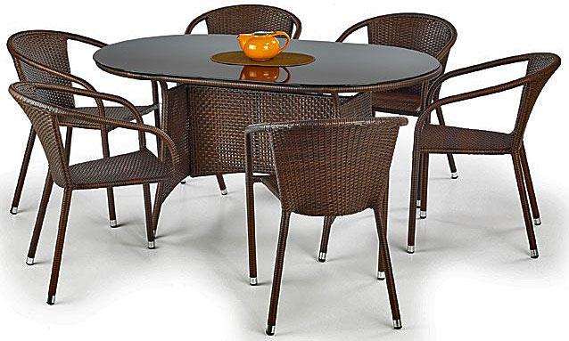 Szklany stół ogrodowy Lukka - brązowy