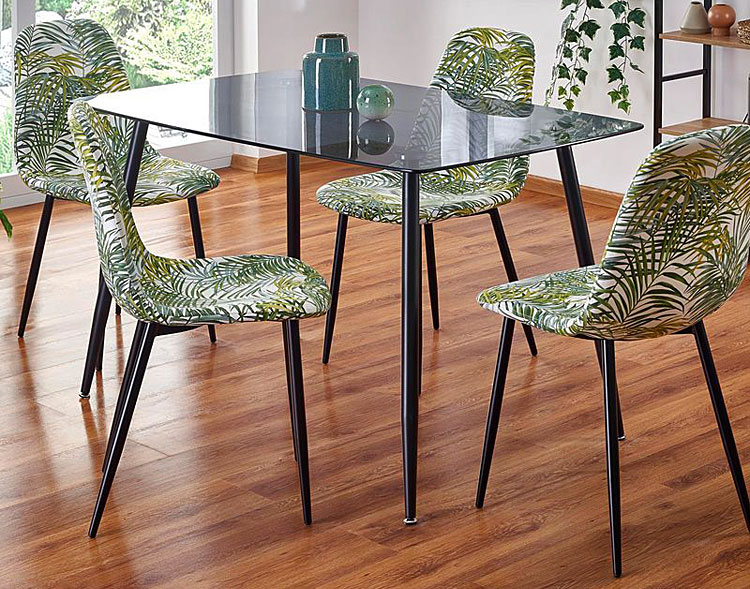 Szklany stół Faleo - dymiony + czarny