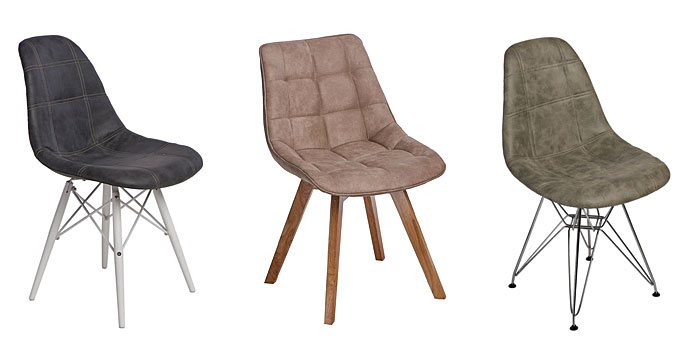 Od lewej: pikowany fotel Roks - grafitowy, krzesło pikowane Albi - beżowe, pikowany fotel Roks 2X - oliwkowy.