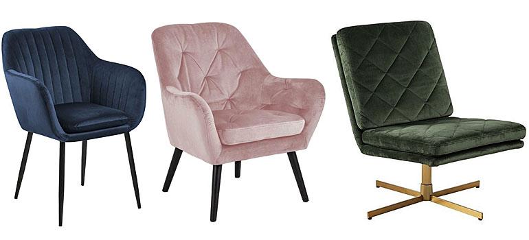 Od lewej: Fotel Erino 3X - niebieski, welurowy fotel Murio - różowy, fotel Ricco - ciemnozielony.