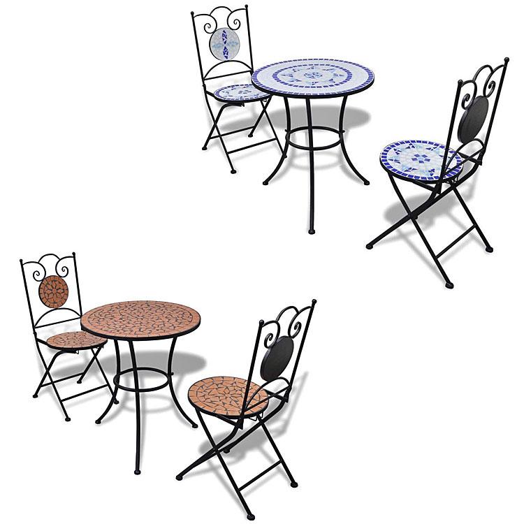 Zestaw mebli ogrodowych Karen - niebiesko - biały oraz brązowy.