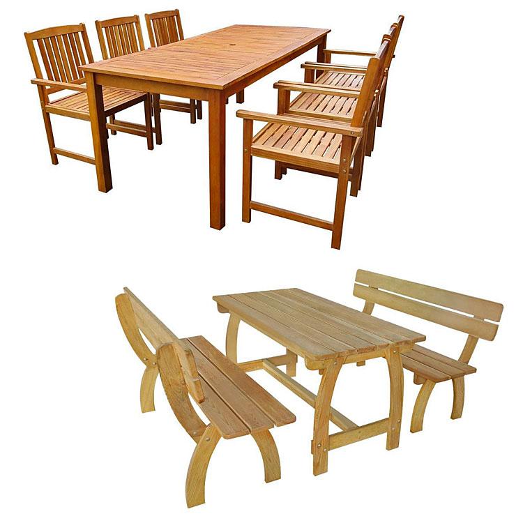 Od góry: drewniany zestaw mebli ogrodowych Kint 3X - brązowy; poniżej: zestaw drewnianych mebli ogrodowych  Darco 2X - brązowy.