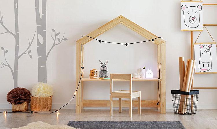 Drewniane biurko dziecięce domek Rosie 2X.