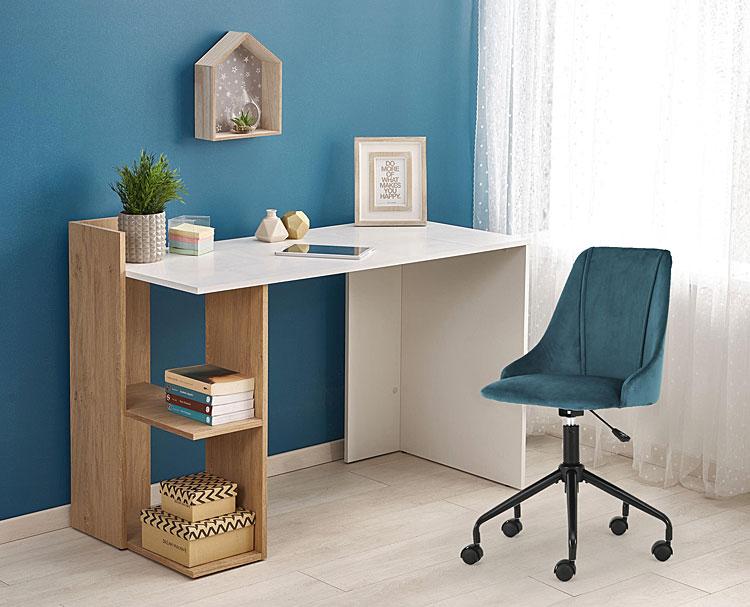 Skandynawskie biurko Multo - dąb złoty- biały.