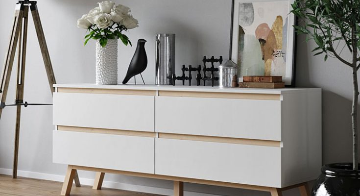 Komoda w stylu skandynawskim w kolorze białym