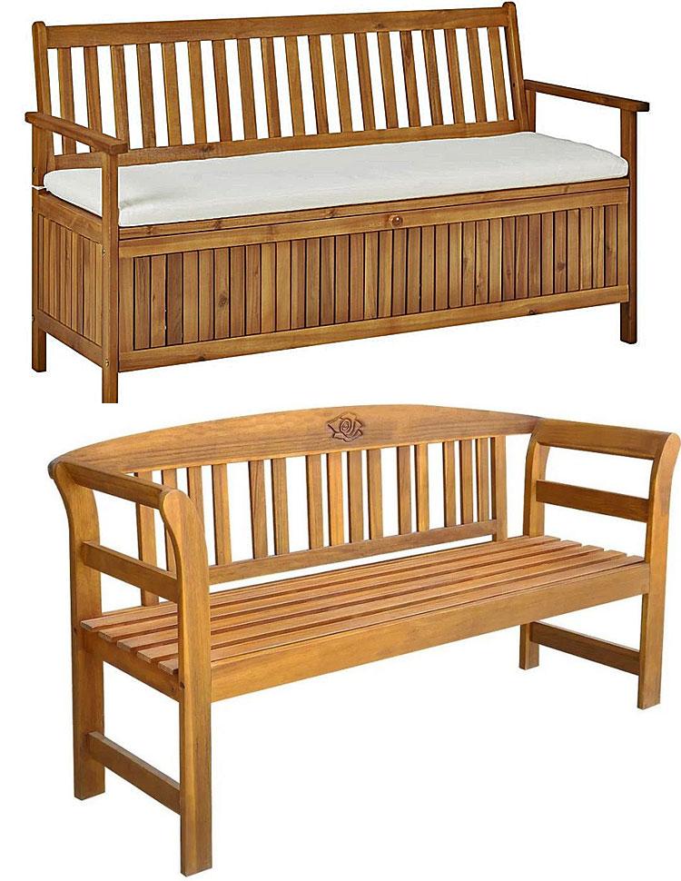 Od góry: Drewniana ławka ogrodowa Canat 2X; na dole: drewniana ławka ogrodowa Nuln.