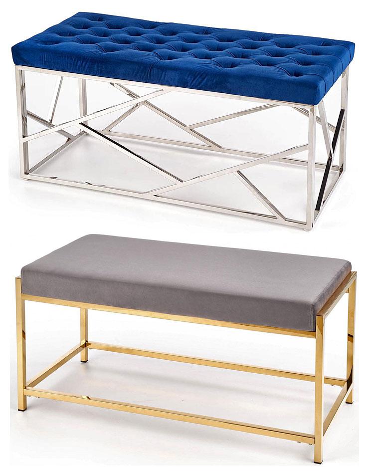 Od góry: ławka pikowana Cante - granatowa; na dole: ławka do przedpokoju Callan - popielata.