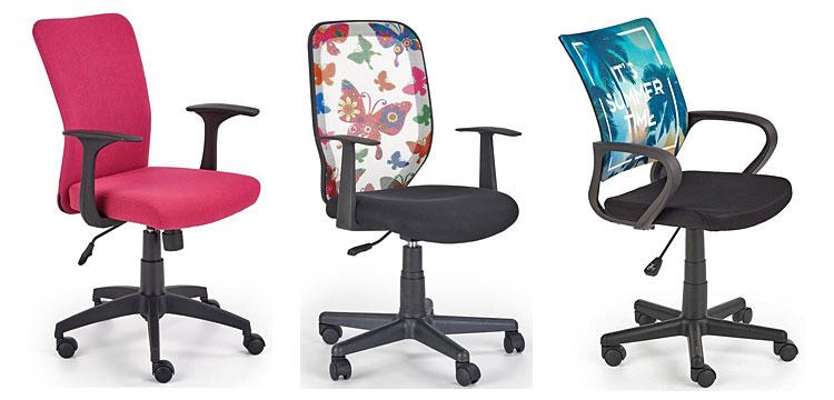 Od lewej: Fotel do komputera dla dziewczynki Syriusz - różowy; fotel obrotowy - Estor; młodzieżowy fotel obrotowy - Emes.