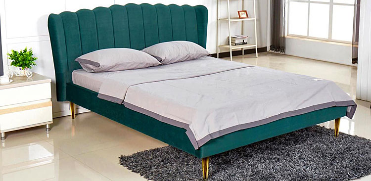 Podwójne łóżko glamour Rita - zielone
