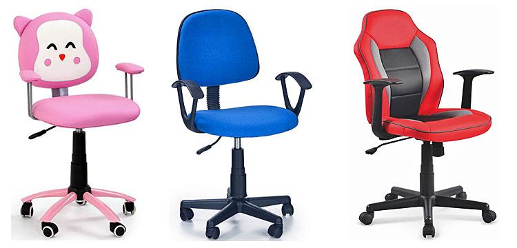 Od lewej fotel dziecięcy Tobi -różowy; fotel młodzieżowy Bomer - niebieski; młodzieżowy fotel obotowy Nomer - czerwony.
