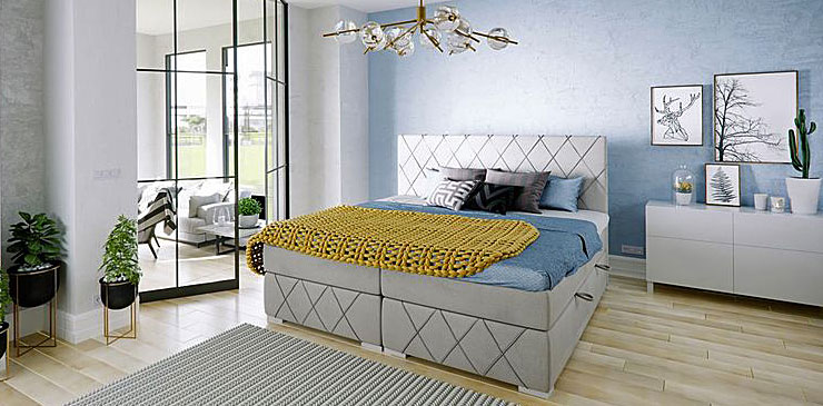 Pikowane łóżko kontynentalne Elise