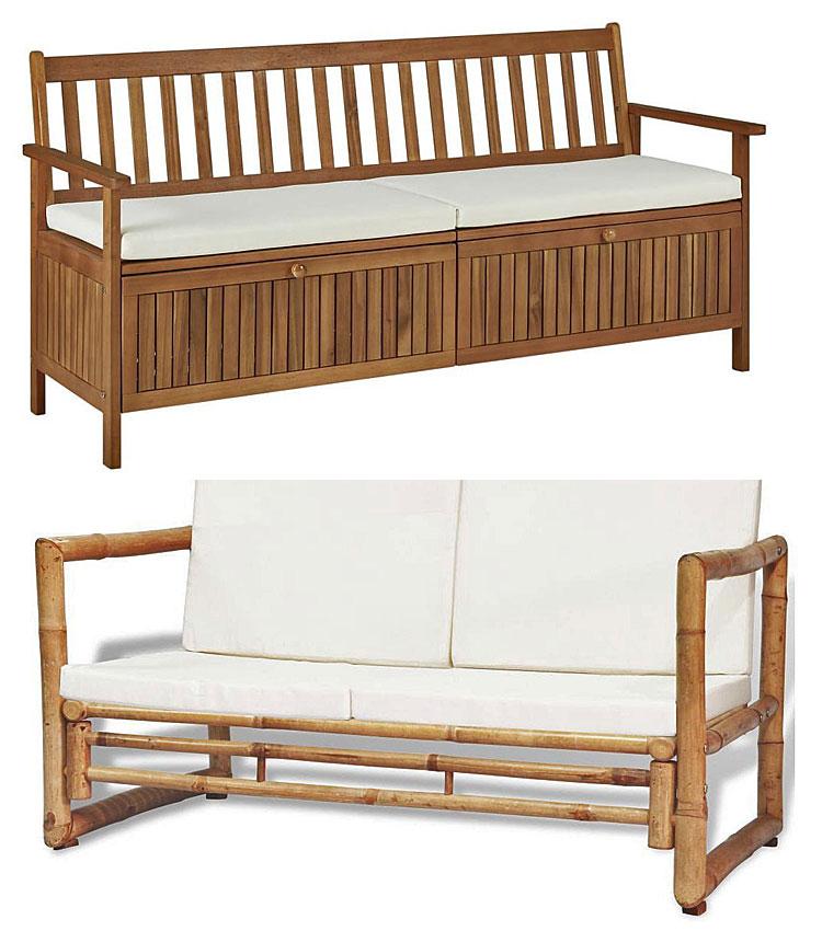 Od góry: ławka Canat 2X; na dole: bambusowa sofa ogrodowa Belta - brązowa