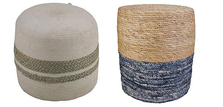 Od lewej: naturalny puf Saliem - biały; boho puf Seleo - niebieski