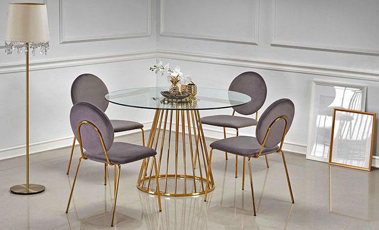 Okrągły stół glamour Golden - złoty