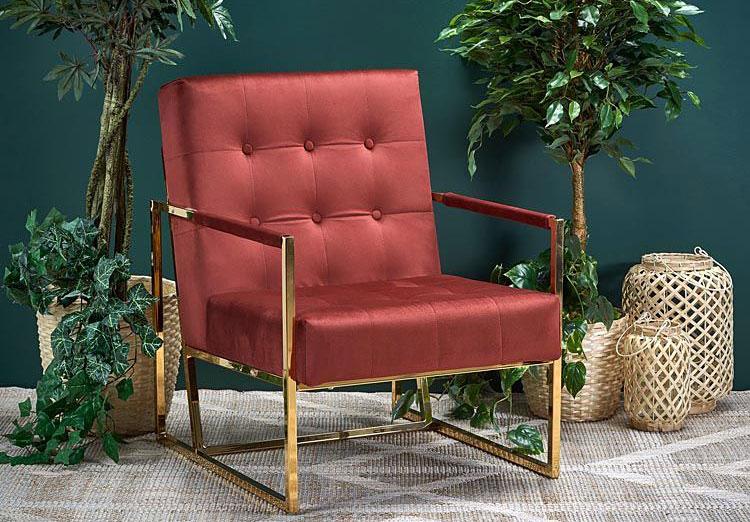 Klubowy fotel glamour Verden - bordowy