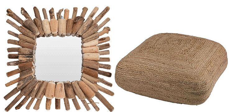 Od lewej: drewniane lustro Lennie - drewniane; kwadratowy puf Meraja - naturalny.