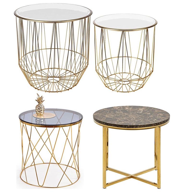 Od góry: stoliki kawowe Brande - złoto białe; na dole, od lewej: okrągły szklany stolik kawowy Hybris - złoty, elegancki stolik kawowy Joko - złoty
