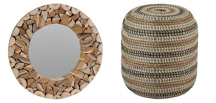 Od lewej: okrągłe lustro Silmi- naturalne; okrągły puf Elpo - naturalny.