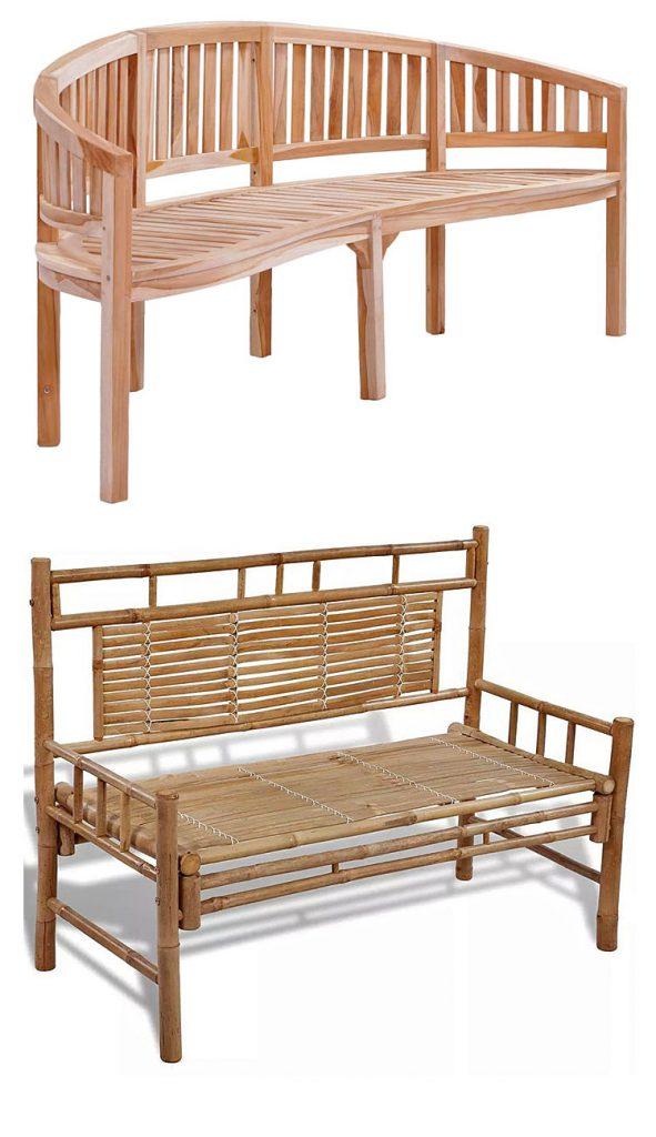Od góry: drewniana ławka ogrodowa Bart; na dole: drewniana ławka ogrodowa Calmer