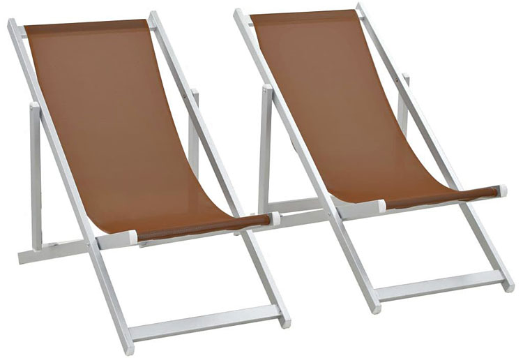 Składane krzesła plażowe Strand - brąz