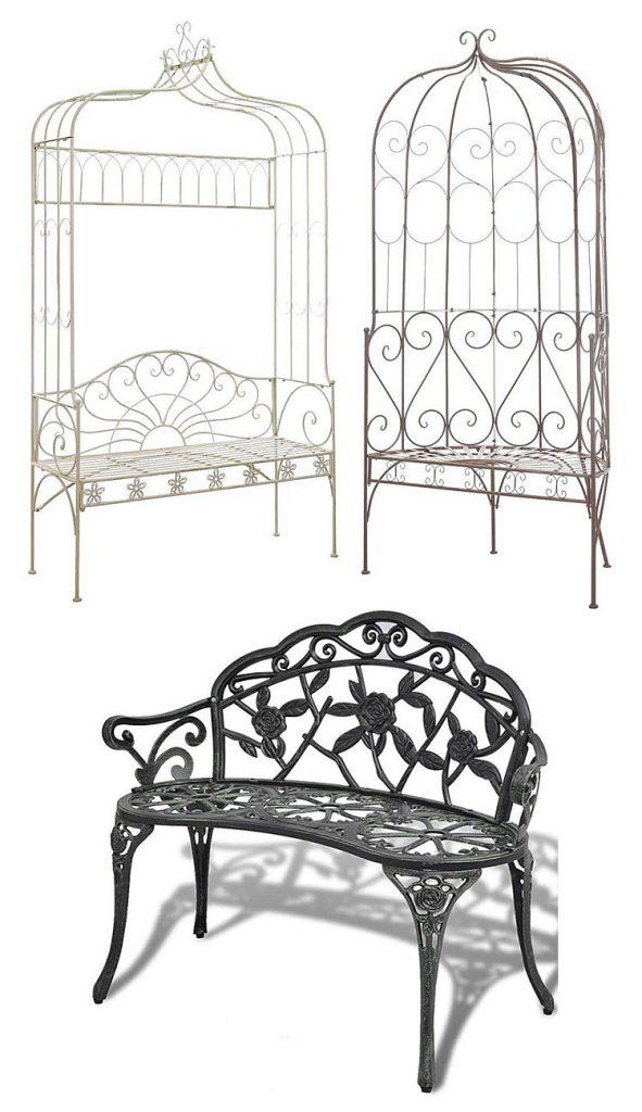 Od góry, po lewej: klasyczna ławka ogrodowa Heine - biała; klasyczna ławka ogrodowa Yarona - biała; na dole: metalowa ławka ogrodowa Loryn - zielona