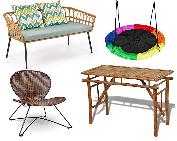 Od góry, po lewej: rattanowa sofa ogrodowa Selena 3X - wielobarwna, huśtawka ogrodowa bocianie gniazdo Fifi - tęczowa; na dole, od lewej: rattanowy fotel ogrodowy Livio - brąz, składany bambusowy stół ogrodowy Eventer