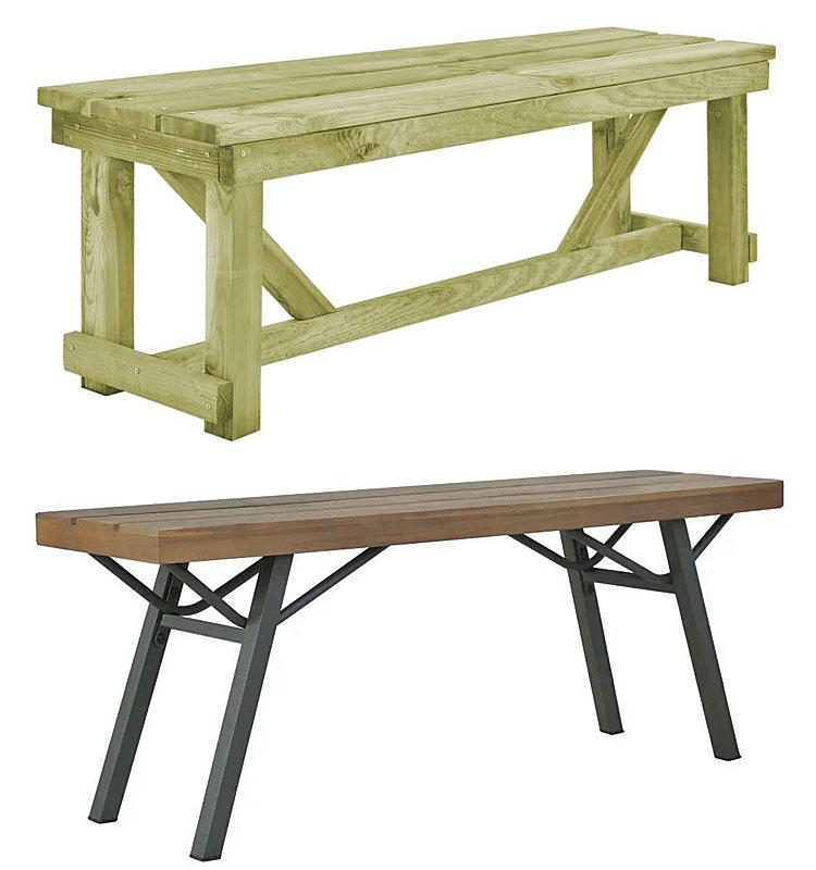 Od góry: drewniana ławka ogrodowa Beten - zielona: na dole: drewniana ławka ogrodowa Ethan - brązowa
