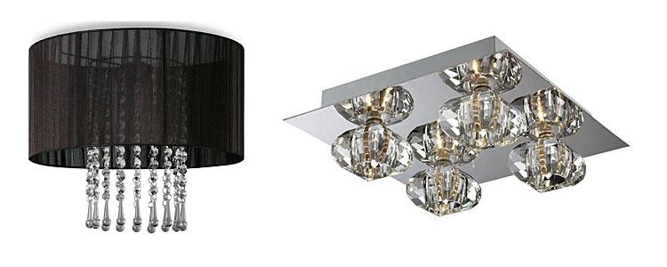 Od lewej: plafon w stylu glamour Wenez - czarny, nowoczesny plafon glamour Denvex
