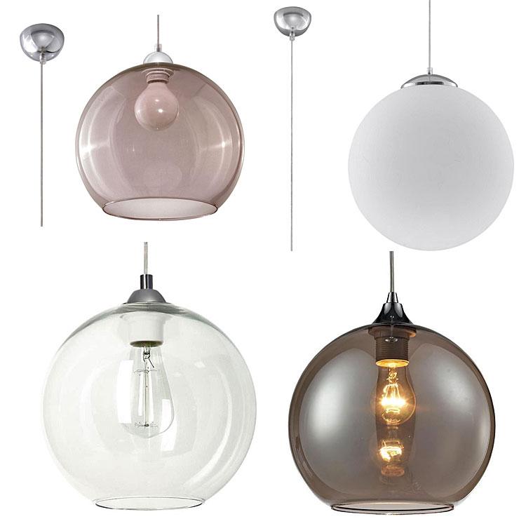 Od góry, od lewej: szklana lampa wisząca led - Bals, szklana lampa wisząca kula - Ugi; na dole, od lewej: szklana lampa wisząca Norbi, industrialna wisząca lampa - Bolli.