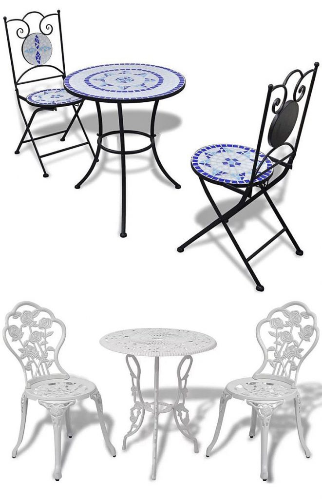 Od góry: zestaw mebli ogrodowych - Karen - niebiesko - biały; na dole: zestaw mebli bistro do ogrodu Mesa - biały