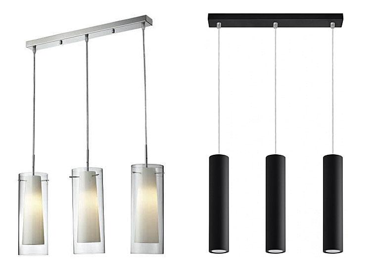 Od lewej: szklana lampa wisząca nad stół - Ruli, lampa wisząca nad stół - Pastels - czarny.