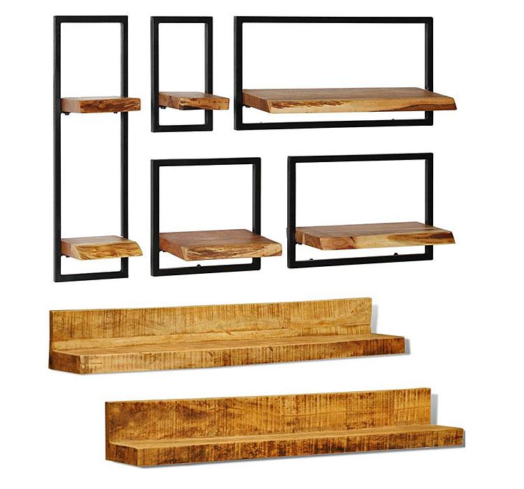 Od góry: zestaw drewnianych modułowych półek ściennych Insea - brązowy; na dole: zestaw drewnianych półek ściennych Gent - brązowy.
