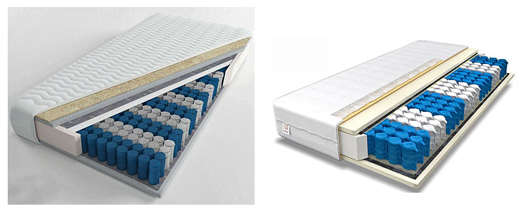Od lewej: materac kieszeniowy z wełną Zikon 2X, materac sprężynowy Medios 4X.
