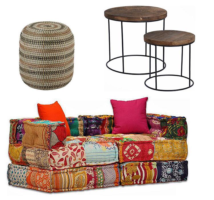 meble do aranżacji w stylu boho okrągły puf Elpo - naturalny, zestaw stolików kawowych - Remos; na dole: sofa patchwork Demri 3D - kolorowa.