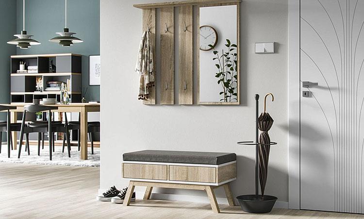 wnętrze mieszkania z jasną dębową podłogą z meblami w kolorze dąb sonoma