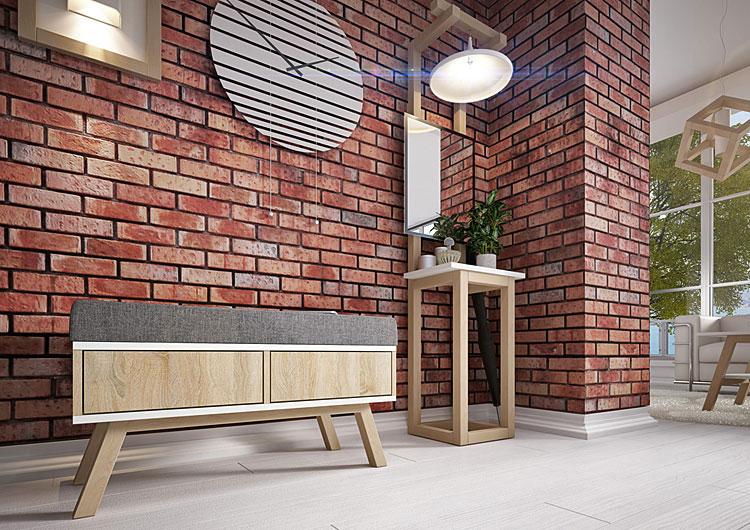 Meble w kolorze dąb sonoma szafka z siedziskiem do przedpokoju oraz stolik z drewnianymi nogami we wnętrzu w stylu industrialnym