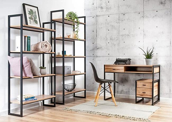 komplet mebli industrialnych we wnętrzu mieszkania urządzonego w stylu loft