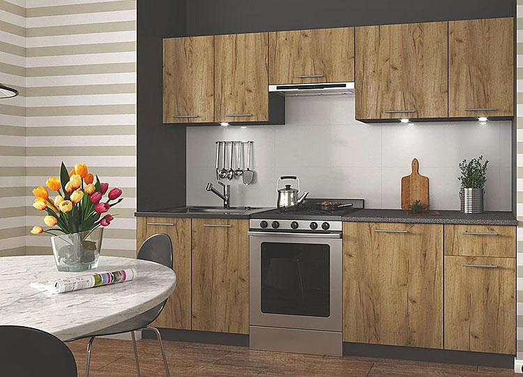 zestaw mebli kuchennych z szafkami posiadającymi fronty w kolorze drewna dąb votan