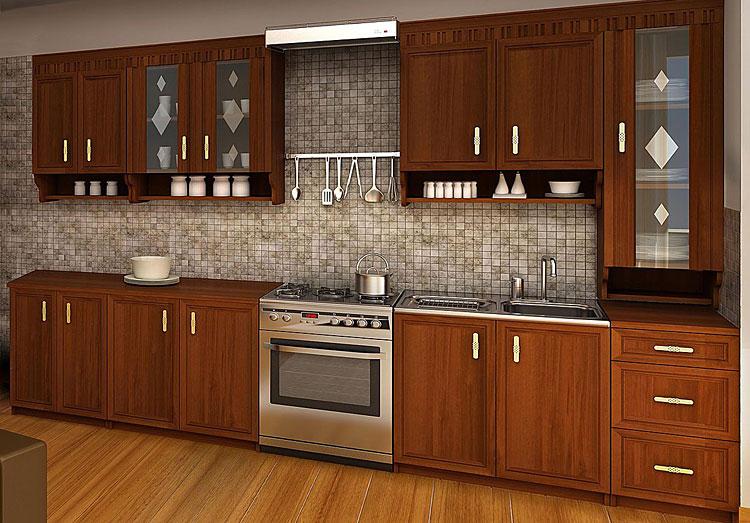 komplet szafek kuchennych z frontami o wyglądzie drewna orzechowego