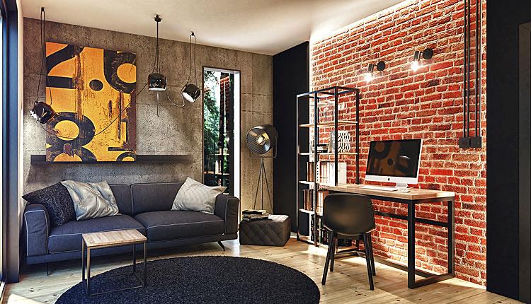 pokój dzienny mieszkania w stylu loft