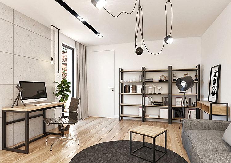 industrialne meble w małym loftowym mieszkaniu