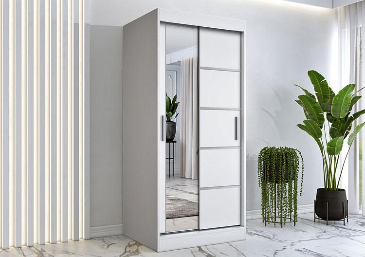 dwudrzwiowa wolnostojąca szafa z drzwiami przesuwnymi i lustrem