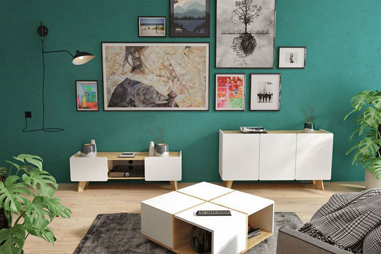 skandynawska komoda z półkami w salonie
