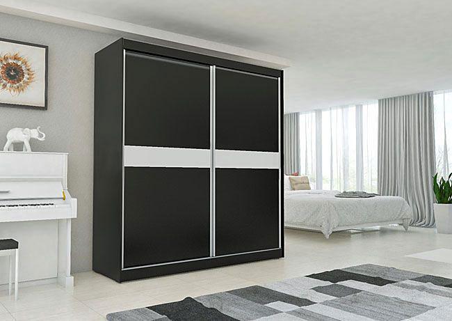 czarna wolnostojąca szafa z drzwiami przesuwnymi do sypialni
