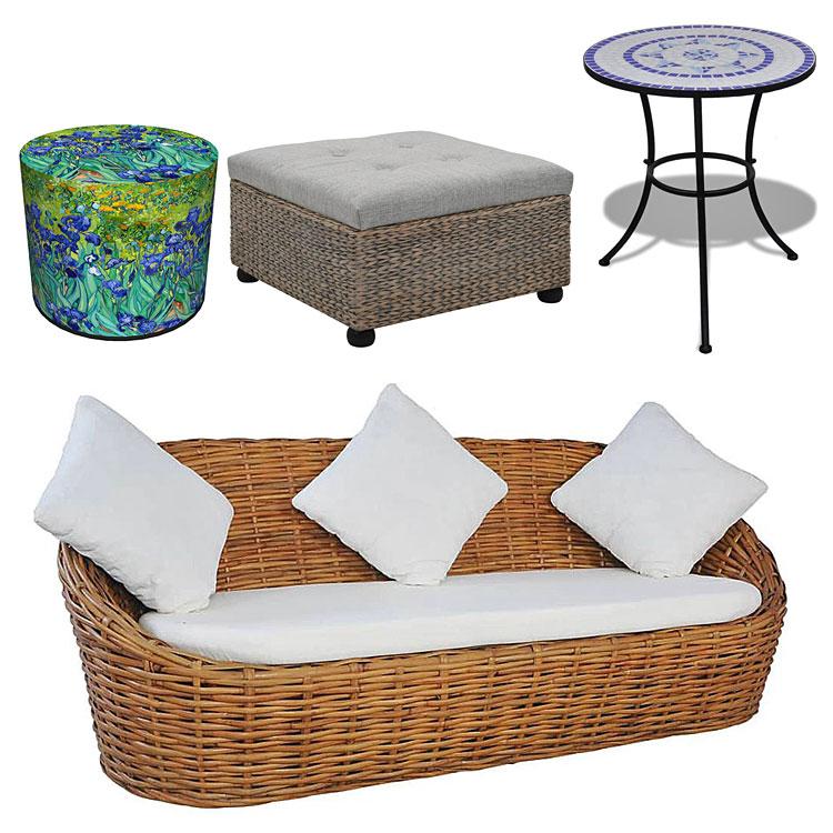 meble do aranżacji wnętrz w stylu prowansalskim od góry po lewej: zielono-niebieska tapicerowana pufa z motywem roślinnym - matilda, otwierana pufa pikowana z pojemnikiem - gino, stolik ogrodowy ceramiczny valen – niebiesko-biały; na dole: trzyosobowa sofa z naturalnego rattanu - prima