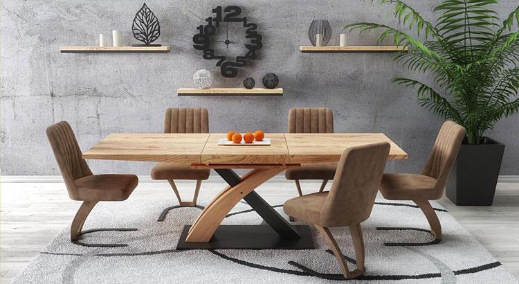 drewniany rozkładany stół w stylu loft do salonu