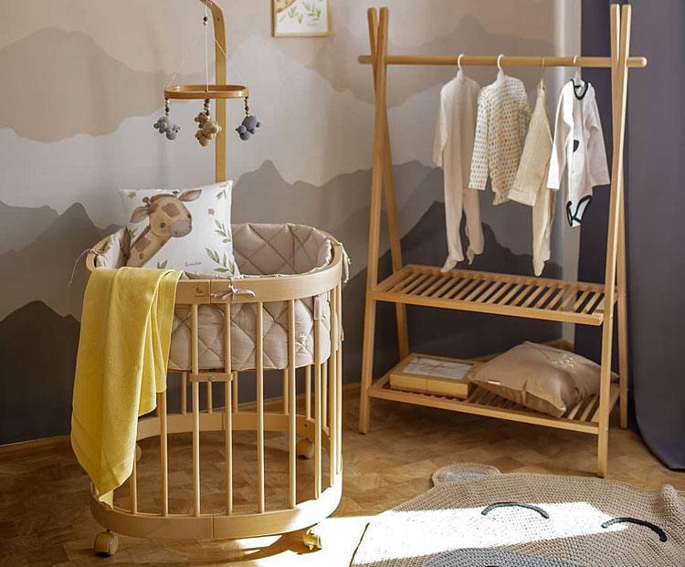 drewniane wielofunkcyjne łóżeczko dla dziecka