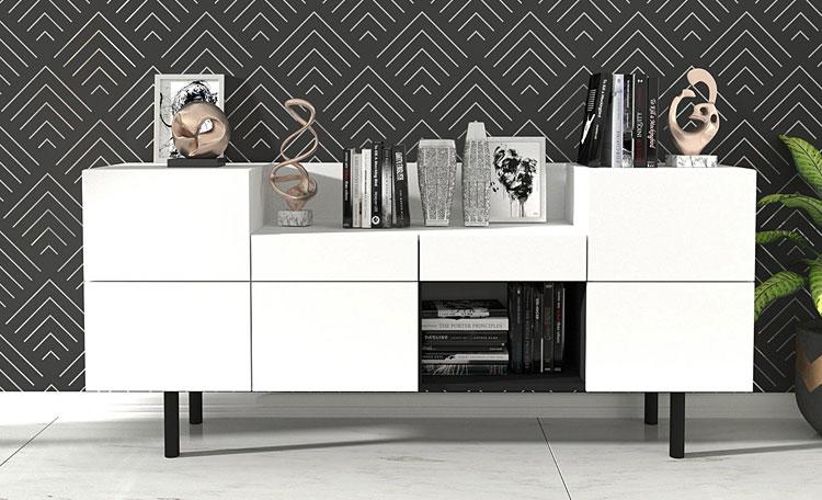 biała nowoczesna komoda w stylu skandynawskim
