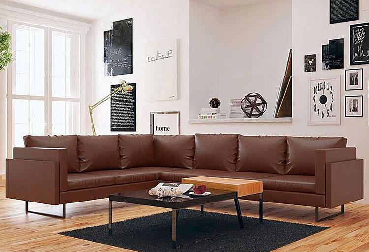 brązowa sofa narożna w pokoju dziennym